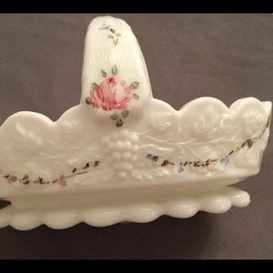 WESTMORELAND Milk Glass Hand Painted Candy Dish